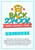 Terug naar schoolkaart met kleurenetiket dat uit bus en teken bestaat Stock Foto