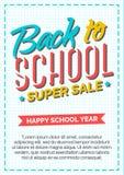 Terug naar schoolkaart met kleurenetiket dat uit teken super sa bestaat Royalty-vrije Stock Afbeeldingen