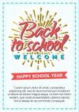 Terug naar schoolkaart met kleurenetiket dat uit zonnestraal bestaat en Stock Foto