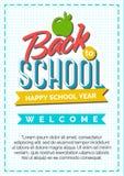 Terug naar schoolkaart met kleurenetiket die uit appel en sig bestaan Stock Afbeelding