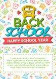 Terug naar schoolkaart met kleurenetiket die uit buspictogram bestaan en Stock Foto