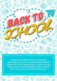 Terug naar schoolkaart met kleurenetiket die uit pictogramdocument pl bestaan Stock Foto