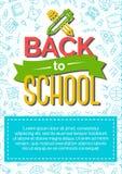 Terug naar schoolkaart met kleurenetiket die uit pictogrampen bestaan en Royalty-vrije Stock Fotografie