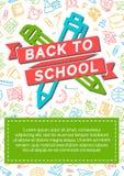 Terug naar schoolkaart met kleurenetiket die uit pictogrampen bestaan, pen Stock Afbeeldingen