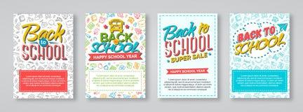 Terug naar schoolkaart met kleurenetiketten wordt geplaatst op verschillende backgroun die Stock Foto