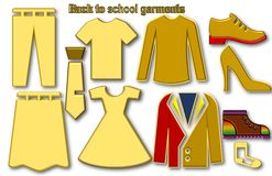 Terug naar schoolkledingstukken stock illustratie