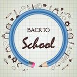 Terug naar schoolkrabbel met blauwe potloodcirkel Royalty-vrije Stock Afbeeldingen