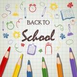 Terug naar schoolkrabbel met kleurenpotlood Stock Foto's