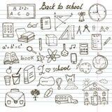 Terug naar Schoollevering plaatsen de Schetsmatige Notitieboekjekrabbels met het Van letters voorzien, Hand-Drawn Vectorillustrat Royalty-vrije Stock Foto