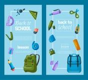 Terug naar schoolreeks banners De rugzak van de jonge geitjesschool met de vectorillustratie van het onderwijsmateriaal De leveri vector illustratie
