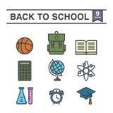 Terug naar schoolreeks van 9 pictogrammen vector illustratie