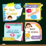 Terug naar Schoolstickers Ontwerpmalplaatje van geheugen kleverige nota's, studiesymbolen Voor de marketing van reclame en leerli royalty-vrije illustratie