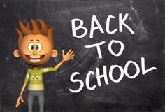 Terug naar Schoolstudent Chalkboard Stock Afbeeldingen
