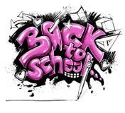 Terug naar schoolteken - graffiti Stock Foto's