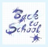 Terug naar schooltekst met inkt Royalty-vrije Stock Afbeeldingen