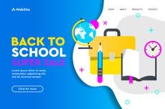 Terug naar vector het conceptenlandingspagina van de schoolverkoop Vectorillustratie voor de affiche en de website van de banners stock fotografie