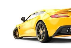 Terug van een gele die luxeauto op een witte achtergrond wordt geïsoleerd royalty-vrije illustratie