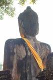 Terug van het Standbeeld van Boedha bij Wat Pra Khaeo Kamphaeng Phet-Provincie, Thailand Royalty-vrije Stock Afbeelding