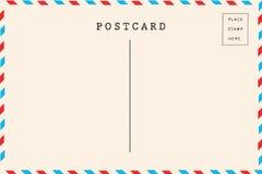 Terug van luchtpost lege prentbriefkaar royalty-vrije stock afbeeldingen