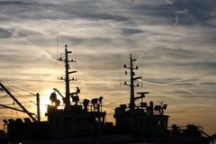 Terug van visserij Stock Foto