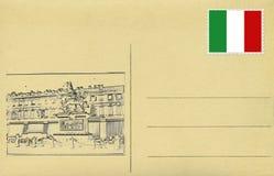 Terug van wijnoogst postacard met Italiaanse vlag en Piazza San Carlo Royalty-vrije Stock Afbeelding