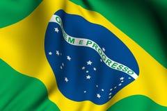 Teruggegeven Braziliaanse Vlag Royalty-vrije Stock Afbeeldingen