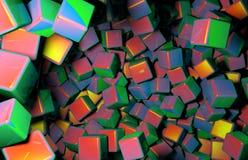 Teruggegeven 3D Kubussen die willekeurig in Ruimte, Diverse Kleuren van Kubussen worden verdeeld Royalty-vrije Stock Fotografie