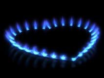 Fornuis. De vlam van het gas Stock Fotografie