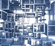 Teruggegeven illustratie van abstracte blauwe achtergrond Royalty-vrije Stock Afbeelding