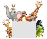 teruggegeven illustratie van wild dier met witte raad Royalty-vrije Stock Afbeeldingen