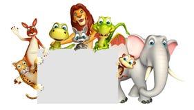 teruggegeven illustratie van wild dier met witte raad Stock Afbeeldingen