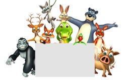 teruggegeven illustratie van wild dier met witte raad Stock Foto