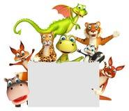 teruggegeven illustratie van wild dier met witte raad Royalty-vrije Stock Afbeelding