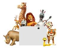 teruggegeven illustratie van wild dier met witte raad Royalty-vrije Stock Foto