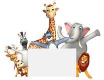 teruggegeven illustratie van wild dier met witte raad Stock Afbeelding