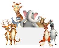 teruggegeven illustratie van wild dier met witte raad Stock Foto's