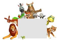 teruggegeven illustratie van wild dier met witte raad Stock Fotografie
