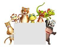 teruggegeven illustratie van wild dier met witte raad Royalty-vrije Stock Foto's