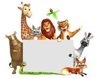 teruggegeven illustratie van wild dier met witte raad Royalty-vrije Stock Fotografie