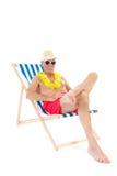 Teruggetrokken mens op vakantie Royalty-vrije Stock Foto's