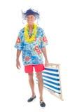 Teruggetrokken mens op vakantie Stock Foto