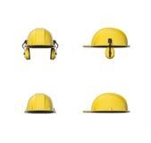 Teruggevend reeks van gele die bouwvakker of bouwhelm met oorbeschermers op een witte achtergrond worden geïsoleerd Stock Foto