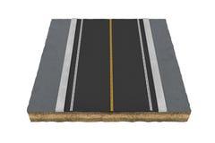 Teruggevend vierkant stuk van asfaltweg dat op de witte achtergrond wordt geïsoleerd Stock Afbeelding