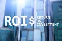 Terugkeer op Investerings Financieel Beheer Opbrengstconcept Virtuele het schermachtergrond royalty-vrije stock foto's