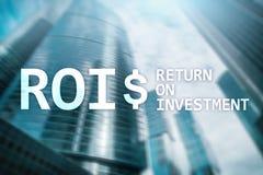 Terugkeer op Investerings Financieel Beheer Opbrengstconcept Virtuele het schermachtergrond stock fotografie