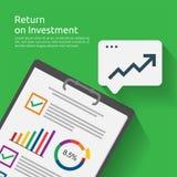 Terugkeer op investeringsroi concept bedrijfsdocumentrapport met de groeipijlen aan succes de winst van de grafiekverhoging finan royalty-vrije illustratie