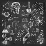 Terugkeer van de de pictogrammen de vector vastgestelde school van wetenschappenkrabbels vector illustratie