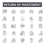 Terugkeer van de pictogrammen van de investeringslijn, tekens, vectorreeks, lineair concept, overzichtsillustratie royalty-vrije illustratie