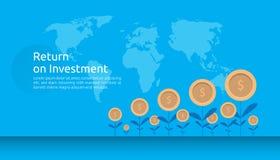 terugkeerinvestering ROI of de groei bedrijfsfinanciënconcept verhogingswinst uitrekken die stijgen vlakke stijl vectorillustrati stock illustratie