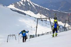 Terugkomend van het ski?en bij de Hintertux-Gletsjer,  Royalty-vrije Stock Fotografie